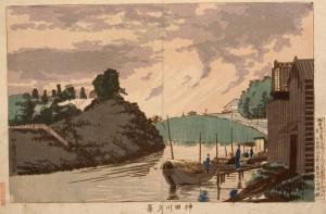 Kanda River Evening Scene, Kiyochika, 1881