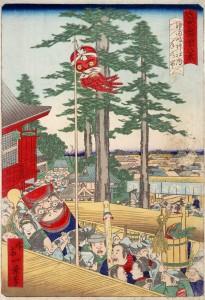 「東京名所四十八景」神田明神社内年の市・1871・一景